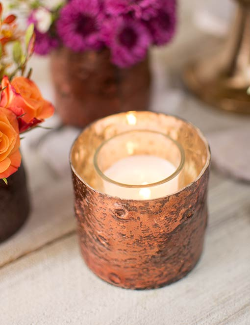 Easily fit votive or tea light candles into this 3 inch diameter candle holder.