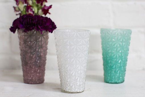 Faceted Starburst Glass Candle Holder, 5 inch, White, 6 Pack