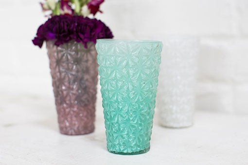 Faceted Starburst Glass Candle Holder, 5 inch, Seafoam Green, 6 Pack