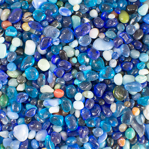 Vase Filler, Glass, 46 oz, Fine Grain Pebbles, Assorted Blue