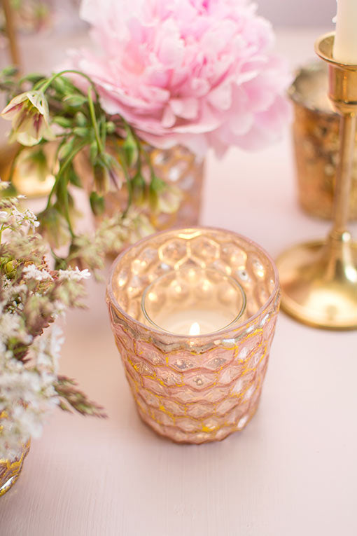 Easily place a votive candle into this honeycomb patterned holder for your restaurant or cafe designs.