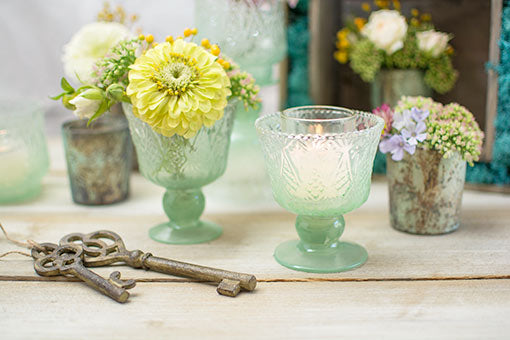 Vintage Inspired Compote, Embossed Glass Candle Holder, 4 inch, Green