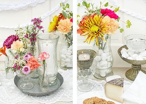 Add a pillar candle or white rock vase filler and flowers to these clear glass vases. Complete the vintage styled setting with rustic compotes or tin tart pans.