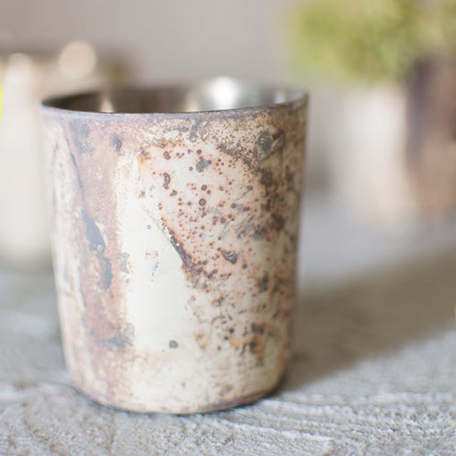 Rustic Mercury Glass Votive Candle Holder, 2.75in, Misty Marbled White
