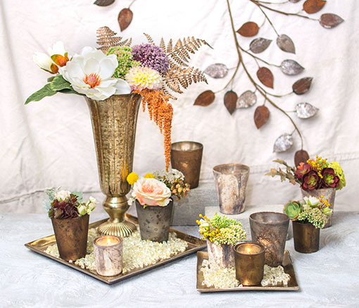 Rustic Mercury Glass Votive Candle Holders, 4 inch, Matte Tan, 6 Pack
