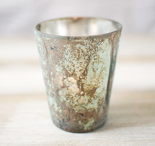 Rustic Mercury Glass Votive Candle Holder, 4 inch, Matte Seafoam