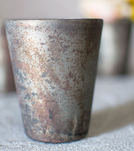 Rustic Mercury Glass Votive Candle Holders, 4 inch, Matte Gray, 6 Pack