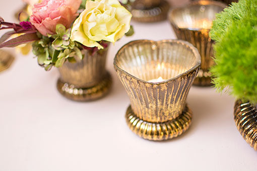 Fluted Mercury Glass Votive Candle Holder, 3.25 inch, Bronze & Gold