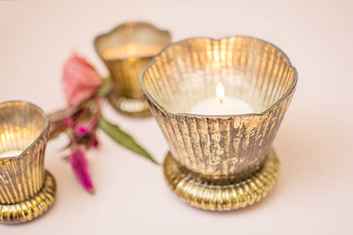 Fluted Mercury Glass Votive Candle Holder, 4.5 inch, Bronze & Gold