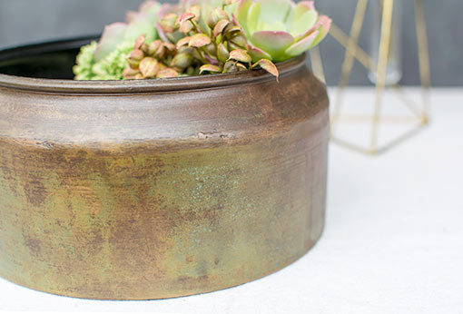 Metal Planter Pot, Industrial Vase, Weathered Bowl, 4.25 inch, Olive