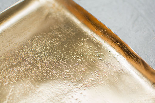 Serving Tray, Distressed Metal Platter, 8 inch Square, Champagne Gold
