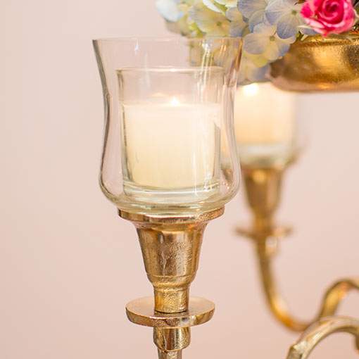 Our champagne gold toned candelabra attachment adds versatility to your candelabra.