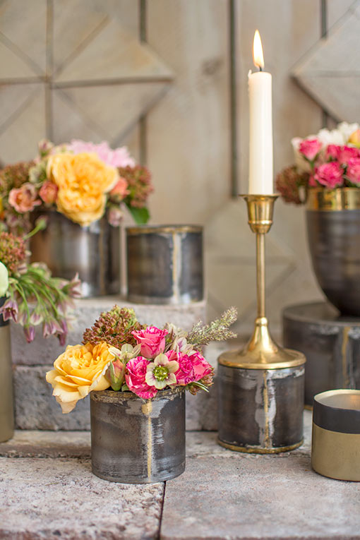 Arrange this solid brass candlestick with our industrial chic candle holders and bud vases for your restaurant or cafe.