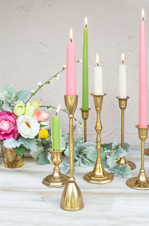 Taper Candle Holder, Metal Candlestick, 10.25 inch, Solid Brass