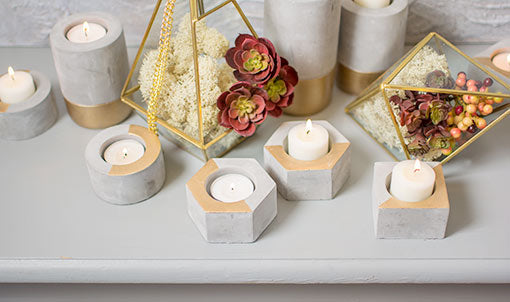Hexagon Concrete Tea Light Candle Holder, 1.5 inch, Gold, 4 Pack