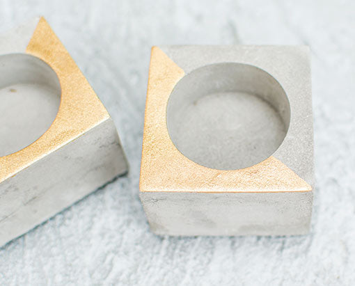 Square Concrete Tea Light Candle Holder, 1.5 inch, Gold, 4 Pack