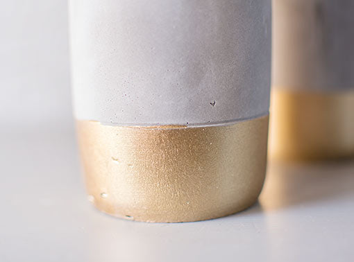 Round Concrete Tea Light Candle Holder, 4 inch, Gold, 2 Pack