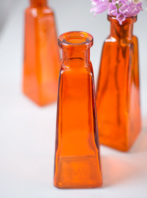 Glass Bud Vase, Tall Pyramid Jar, Food Safe Bottle, 6.75 inch, Orange