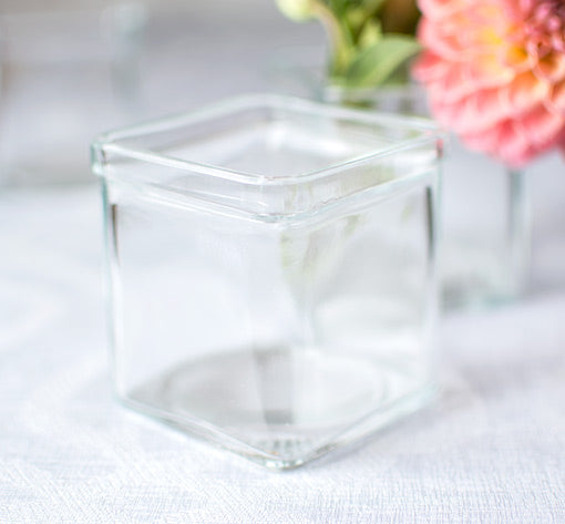 Square Glass Vase, Food Safe Jar, Cube Container, 3 inch, Clear, 6 Pk