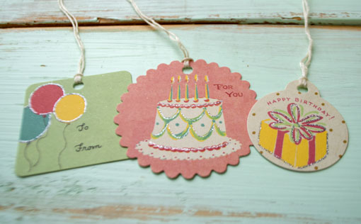 Birthday Gift Bag Set, Paper Party Tags & Stickers, Assorted, 36 piece