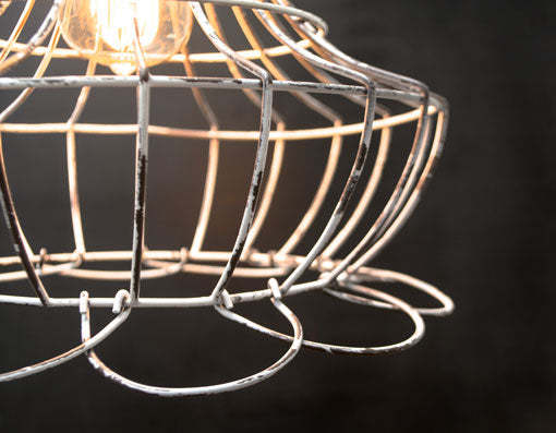 Gallery Bell Cage Pendant Light, Shabby Vintage Lamp Shade Wire Frame