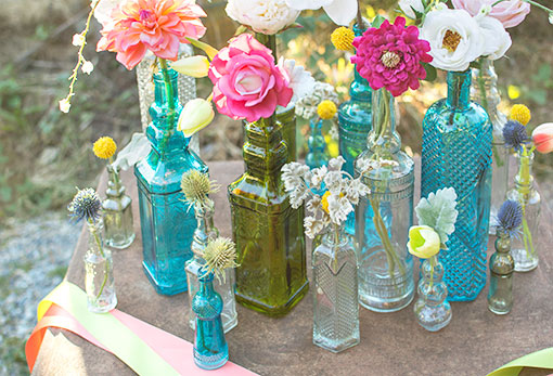 Vintage Apothecary Bottles, Glass Hobnail Bud Vases, 5 in, Clear, 6 Pk