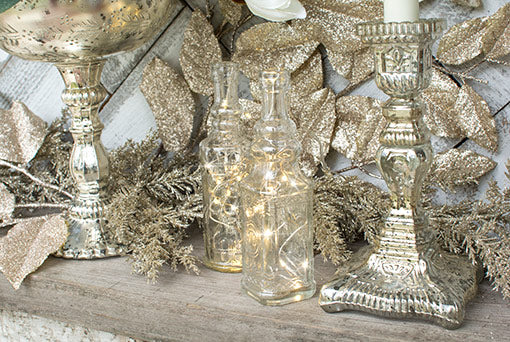 Vintage Apothecary Bottles, Assorted Glass Bud vases, Clear, Set of 6