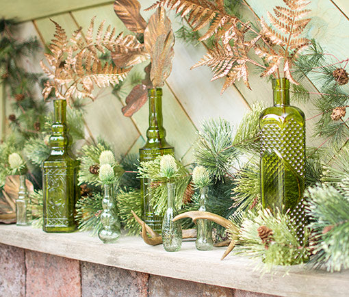 Vintage Decanter Bottles, Assorted Glass Apothecary Vases, Green, 12Pk