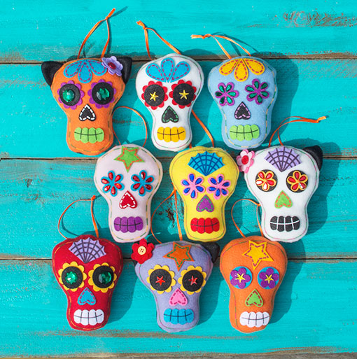 Day of the Dead Sugar Skull Ornament, Multicolor, Assorted Set of 9