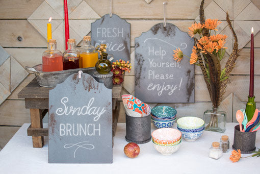 Personalize this chalkboard assortment to fit your event with chalk markers.