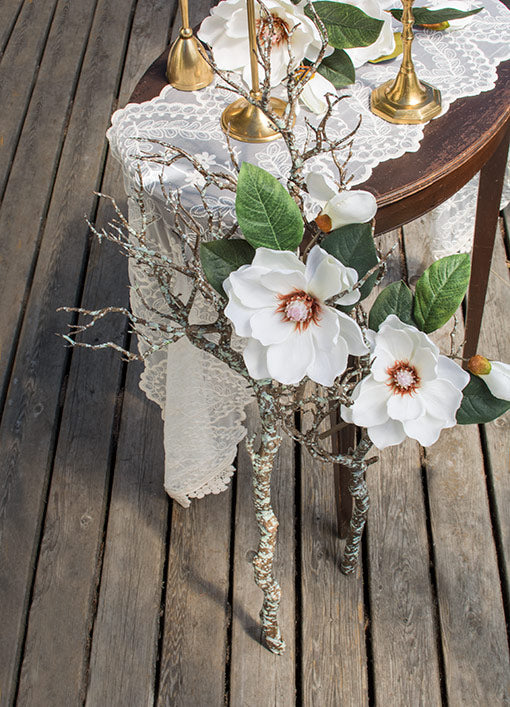 Magnolia Flower, Faux Floral, Artificial Stem, 14 inch, White