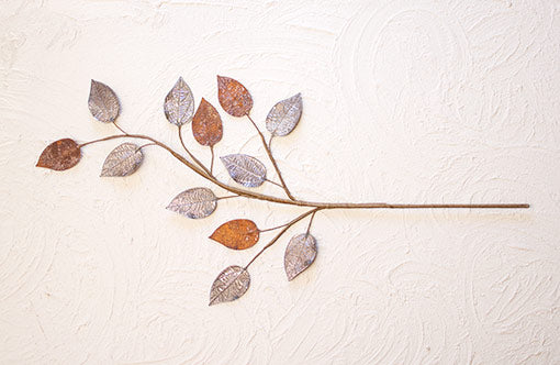 Metal Leaf Spray, Faux Floral Pick, 29 inch, Rust Bronze & Silver