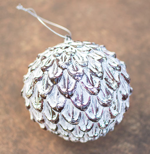 Carved Bauble Ornament, Faux Pine Cone, 4.25 inch, White