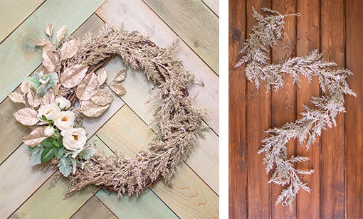 Glittering garland does double delight duty when applied to a wreath form, paired with sparking leaves and frosty dusty miller.