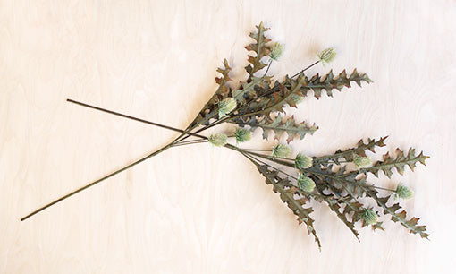 Thistle Spray, Faux Stem, Artificial Branch, 34 inch, Green