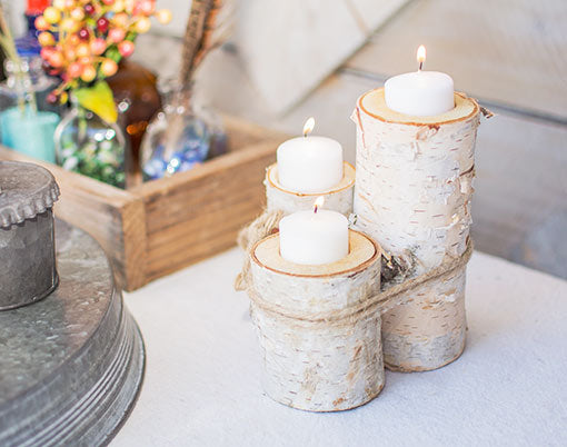 This 3 piece birch wood candle holder bundle accommodates most votive and tea light candles.