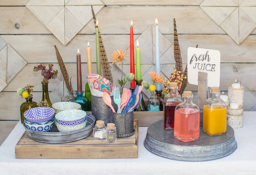 Complete your table with porcelain tidbit bowls, glass bottles, colorful candles, galvanized trays & decorative feathers.