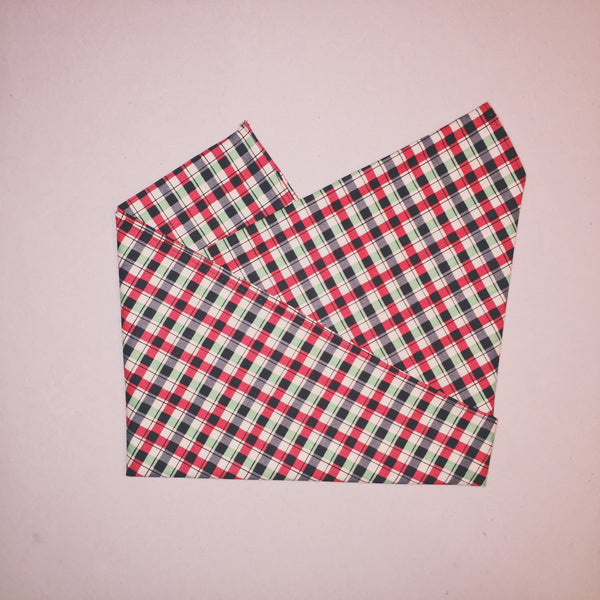 "21.5"" Plaid Holidays Square Bandana"