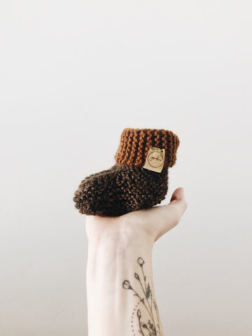 Knit Cuffed Booties // Sequoia // Baby