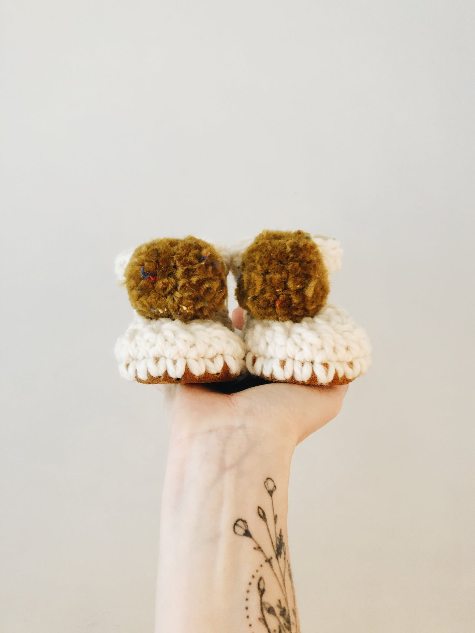 'Ecru White' Slippers // Mustard Confetti Poms // Made to Order