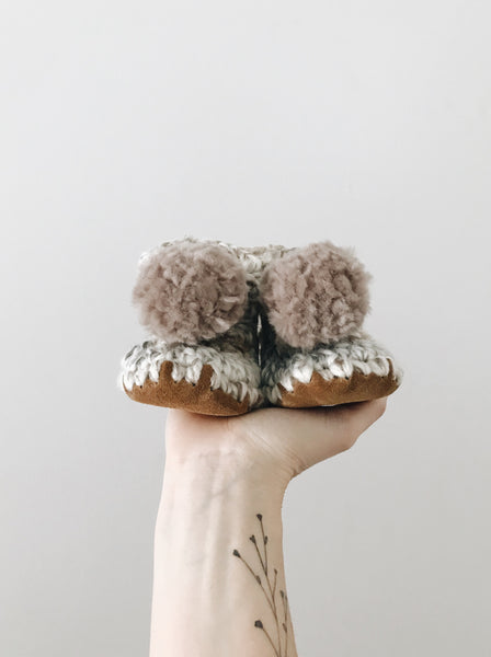 Purely Fossil Booties - Pompoms