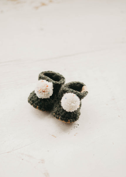Moss Green Booties - Pompoms