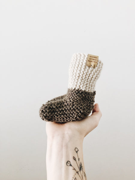 Knit Cuffed Booties // Sepia // Baby