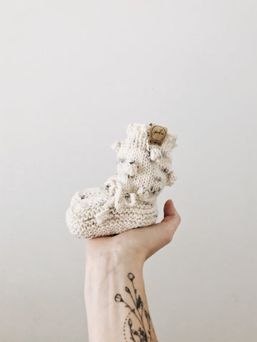 Knit Bobble Booties // Hand Dyed Hello Stella // Baby