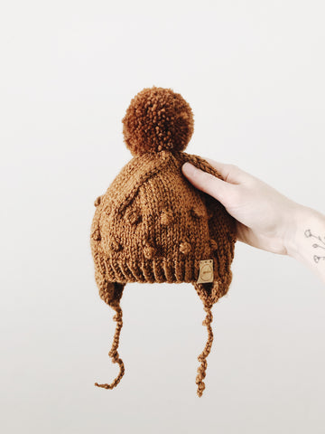 Knit Bobble Hat // Copper // Baby + Toddler // Made to Order