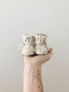 Classic White Tweed Booties