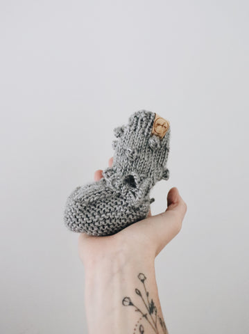 Knit Bobble Booties - Heather Grey // Baby