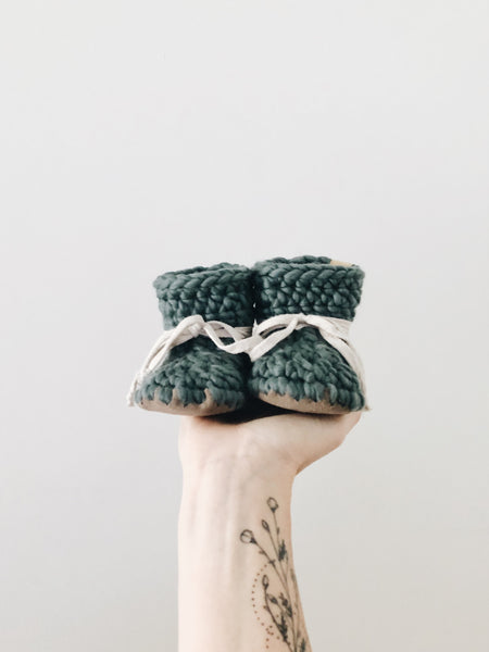 'Pine' Wool Leather Booties
