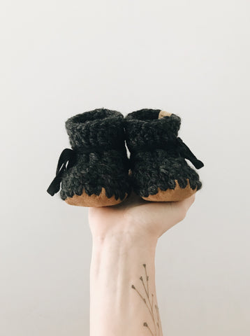 'Charcoal' Leather Slippers // Baby