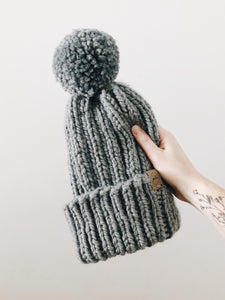 Chunky Knit Hat // Slate // All Sizes